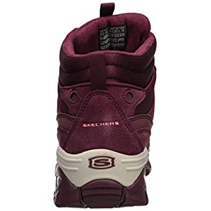 Skechers Women's Energy-Cool Rider-Suede Overlay Wavy Lace-Up Boot Chukka, Burgundy, 7.5 M US