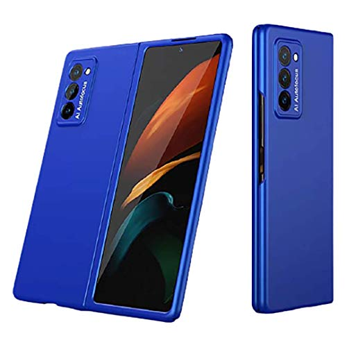 XJZ Kompatibel mit Samsung Galaxy Z Fold 2 Smartphone Hülle(2020)+3D Panzerglas/Hülle Ultra Dünn 3 in 1 Schutzhülle 360 Grad Stoßfest Hülle Cover Handyhülle für Samsung Galaxy Z Fold 2-Blau