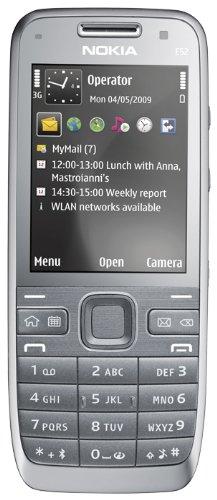 Nokia E52 Cellulare (UMTS, GPS, A-GPS, WLAN, MP3, Bluetooth, Mappe Ovi) incl. Car-Kit CR115, colore: Grigio metallizzato