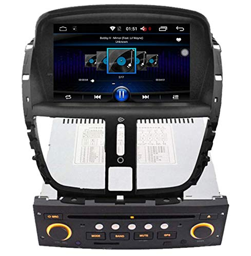 Sunshine Fly 7 inch 1024 * 600 Android 9.0 Quad Core Touchscreen 2 DIN DVD Navi Autoradio GPS Stereo voor Peugeot 207 207CC 207SW 2007-2014 Audio Player BT FM AM Hotspot WiFi Google USB SD SWC