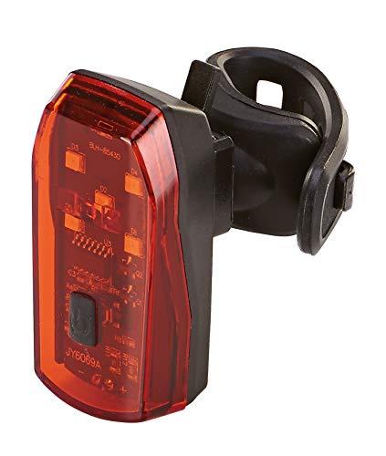 Prophete Unisex– Erwachsene LED-Batterierücklicht, mit Bremslichtfunktion, mit Silikonhalter, Mehrfarbig, One Size