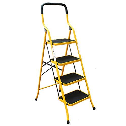 ZKHD Indoor Verdickten Teleskopischen Dreistufenleiter, Haushaltsklapp Fischgrät-Leiter, Multifunktionale Treppenstuhl Climbing Ladder,Gelb
