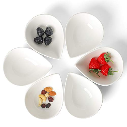 ChasBete Snackschalen, weiß Keramik Sojasauce Gericht Saucenschale Dessertschale kleine Dipschalen 6tlg für Beilage/Sushi, 250 ml/STK