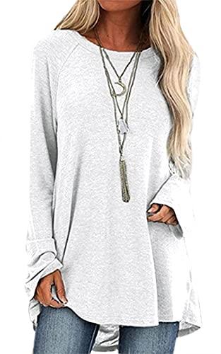 Camiseta de verano de manga corta para mujer, diseño de diente de león, cuello redondo, estilo informal, Color blanco largo., S