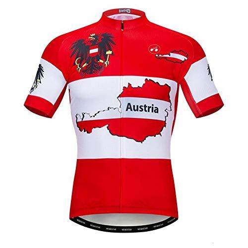 PatTheHook Herren-Fahrradtrikot, Österreich, schnell trocknender Stoff, rot, weiß, atmungsaktiv, MTB-Fahrradtrikot, xxxl