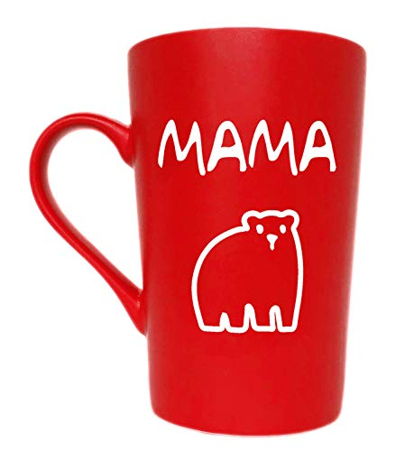 MAUAG Funny Mothers Day Gifts MAMA Bear Coffee Mug Christmas Gifts, Best Birthday and Holiday Gift from Daughter or Son Inspirational Cup for Mom Mother, Red 12 Oz