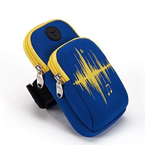 WWWWWWW Sporttas, fitnessstudio, arm om te lopen, Oxford-stof, duurzaam materiaal, 9 × 18 cm, waterdicht, draagbaar, gat voor koptelefoon, muziekdesign, eenvoudige sport