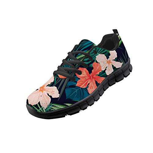 Hugding Tropical Hibiscus Print Breathable Sneakers for Women Art Pink Red Flower Running Shoes Tribal Palm Tree Leaves Pattern Vintage Floral Non Slip Lace-up Casual Walking Shoes Breathable Design
