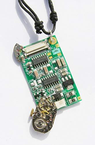 Cornwall Art Prints Digital Time, Cyberpunk, collar con colgante Steampunk hecho a...