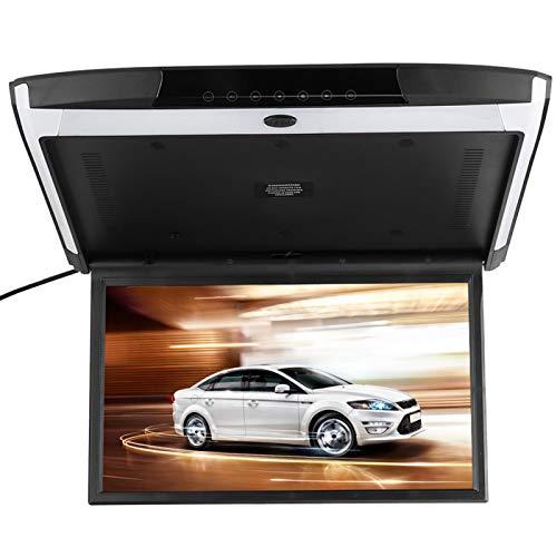 Montaje Monitor de reproductor de DVD Monitor LED abatible hacia abajo de 17,3 pulgadas Botón táctil delgado 1080P Montaje en techo de vídeo HDMI USB SD FM MP5