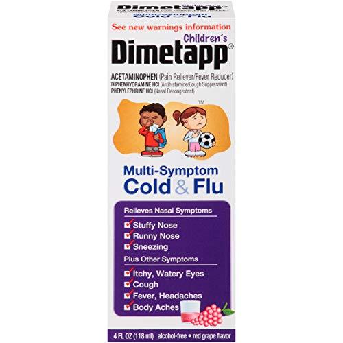 Children's Dimetapp Multi-Symptom Cold & Flu (4 fl. oz., Red Grape Flavor), Decongestant, Pain Reliever & Antihistamine/Cough Suppressant, Alcohol-Free, Ages 6+