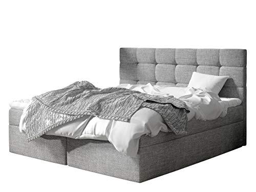 Boxspringbett Gazel mit 2 Bettkasten, Bonell-Matratze und Topperr, Continentalbett, Polsterbett, Amerikanisches Bett, Ehebett, gepolstertes Kopfteil (Muna 08, 160 x 200 cm)