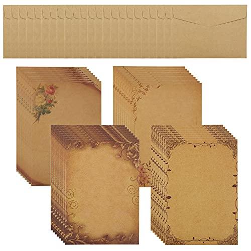 Fishing Fun Briefpapier Briefumschlag Set,Briefpapier mit Umschlag 22 Stück Briefumschläge und 32 Stück Pergamentpapier Vintage Briefpapier für Weihnachten, Hochzeitseinladungen, Grußkarten, Basteln