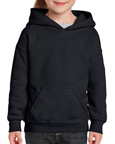 Gildan Youth Hooded Sweatshirt, Style G18500B, Black, Medium