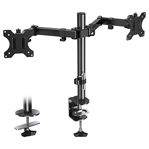 Eono by Amazon - Dual Monitor Arm Desk Mount Height Adjustable PC Monitor Stand Mount Fits Most Monitors up to 27' with VESA 75x75 and 100x100mm, Full Motion Double Arm Monitor Desk Mount PL02