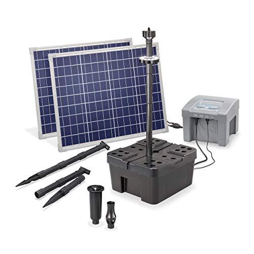 Solar Teichfilter Set Profi bis 4.000 l Teich - 2.600 l/h Förderleistung 100 Watt Solarmodul - neuester 12 V/24 Ah proBatt Akkuspeicher mit LED Licht - Gartenteich Filter Komplettset, esotec 101062