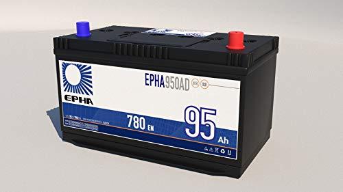 Bateria arranque coche y todoterreno y furgoneta EPHA950AD 12v 95Ah 780EN +DER Alta, equivalente a TA954, TB954, G8, Garantía TUDOR