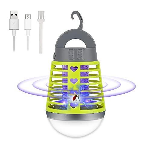 Sylanda Trampa eléctrica para moscas y mosquitos, lámpara de camping, linterna LED, matamoscas eléctrica, impermeable, portátil, recargable por USB, para interior y exterior