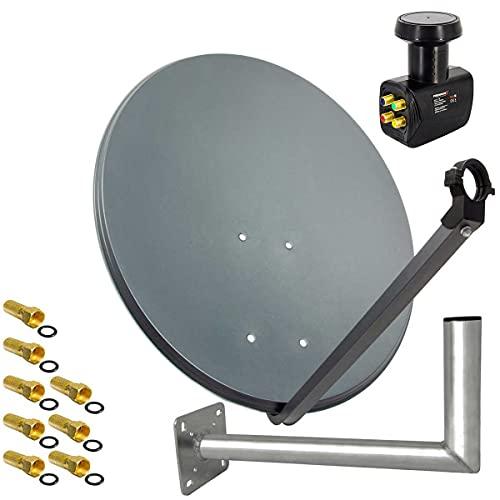 PremiumX Satelliten-Komplettanlage 60cm Anthrazit Satellitenantenne Satellitenschüssel SAT Quad LNB Wandhalter 45cm 8X F-Stecker