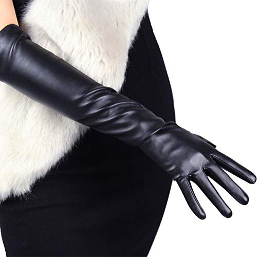 DooWay Elegant Opera Gloves 20-inch Elbow Length Black Evening Party Dress Texting Touchscreen Faux Leather Gloves, Medium