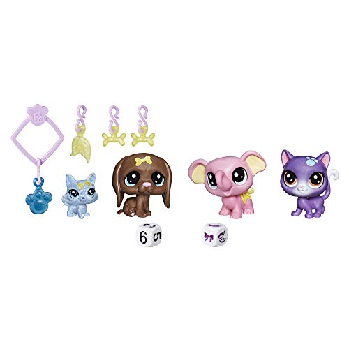Littlest Pet Shop - Juego de 4 Figuras y 4 Colgantes