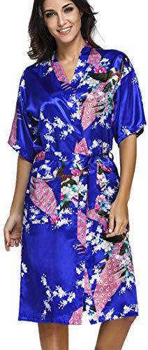 OLIPHEE Lange Kimonos für Damen Bademantel aus Satin mit Pfau und Blüten Morgenmantel Robe Saphirblau L
