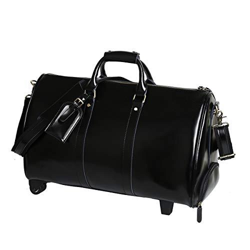 Leathario Herren Damen Weekender Reisetasche Handgepäck mit Rollen für 13.3 Zoll Laptop aus Leder Retro Freizeit (51 * 24 * 29.5CM ) Schwarz