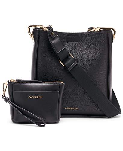 Calvin Klein Lucia Novelty Bucket Crossbody, Black/Gold