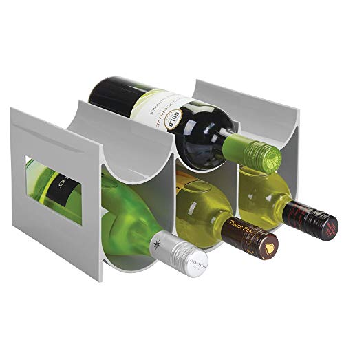 mDesign Wine Rack — Water and Wine Bottle Holder for Worktops, Pantries and Fridges — Wine Storage Rack with 2 Tiers and 6 Slots — Grey