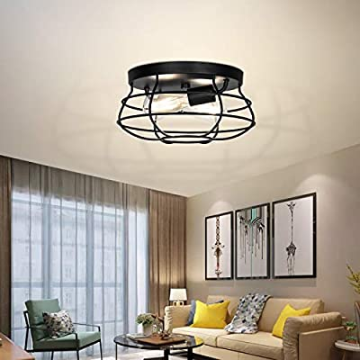 Boncoo Vintage Flush Mount Ceiling Light Industrial 2-Light Close to Ceiling Light with Black Metal Cage E26 Chandelier Rustic Hanging Pedant Light Fixture for Farmhouse, Kitchen, Living Room, Bedroom