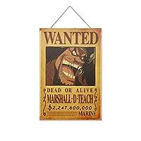 ワンピー-スアニメMARSHALL D TEACH 木製のリストプラーク木の看板ぶら下げ木製絵画パーソナライズされた広告ヴィンテージウォールサイン装飾ポスターアートサイン