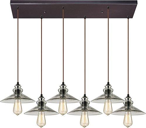 Elk Lighting 10332/6RC Hammered Glass Collection 6 Light Chandelier, Oil Rubbed Bronze