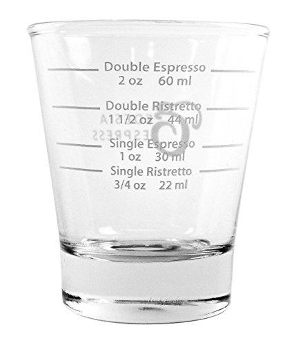 EDESIA ESPRESS - Espressoglas mit weißer Skala zum Abmessen von Kaffee- & Espressospezialitäten - 85 ml