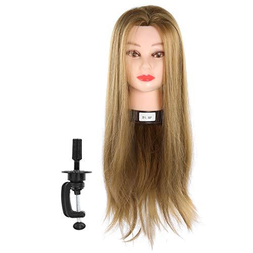 Maniquí de pelo real, cabeza de maniquí de 25,6 pulgadas, maniquí de entrenamiento para peluquería para peluquerías/peluquerías