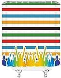 XXzhang Rayas de Color Cortinas de Ducha Simple Elegante Multitud de vítores Colores del Arco Iris Decoración de baño Cortina de Tela Cortinas de Ducha Baratas 72X72 Pulgadas