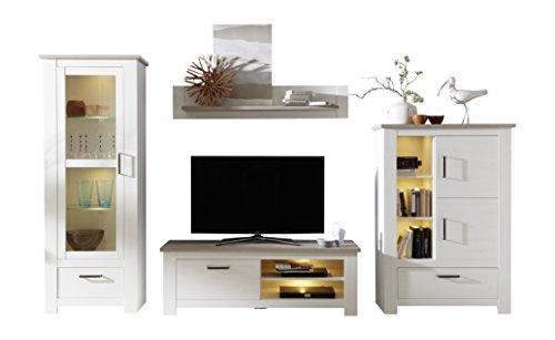 trendteam Wohnzimmer 4-teilige Set Kombination Lotte, 360 x 201 x 48 cm in Pinie Weiß Struktur Dekor im Landhausstil inkl. LED-Beleuchtung