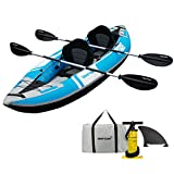 Driftsun Voyager 2 Person Tandem Inflatable Kayak, Includes 2 Aluminum Paddles,...