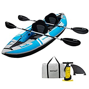 """INFLATES QUICKLY: The Driftsun Voyager Kayak inflates to a full size kayak (10ft. x 35"""" x 16"""") in less than 5 minutes with the included deluxe high flow double action hand pump. Go from garage, to trunk, to water in no time! COMPACT & MANEUVERABLE: W..."""