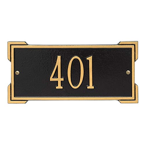 Whitehall Personalized Cast Metal Address Plaque - Mini Roanoke 12' x 5.75' House Number Sign -Allows Special Characters - Black/Gold