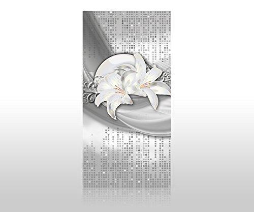 wandmotiv24 Duschrückwand abstrakte Lilien grau Silber 100 x 200cm (B x H) - Acrylglas 4mm Duschwand Design, Wanddeko für Dusche & Bad, Fliesen-Abdeckung, Deko-Set Duschkabine M0524