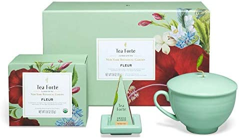 Tea Forte Fleur Gift Set with Cafe Cup Tea Tray and 10 Handcrafted Pyramid Tea Infuser Bags product image