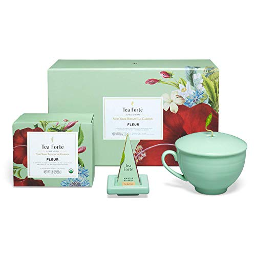 Tea Forte Fleur Gift Set with Cafe Cup, Tea Tray and 10 Handcrafted Pyramid Tea Infuser Bags