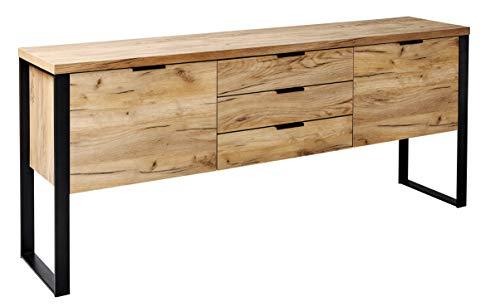 Amazon Brand -Movian Ems 2-Door 3-Drawer Sideboard Storage Cabinet, 180 x 39.5 x 76.2cm, Brown Oak-Effect with Black Hardware