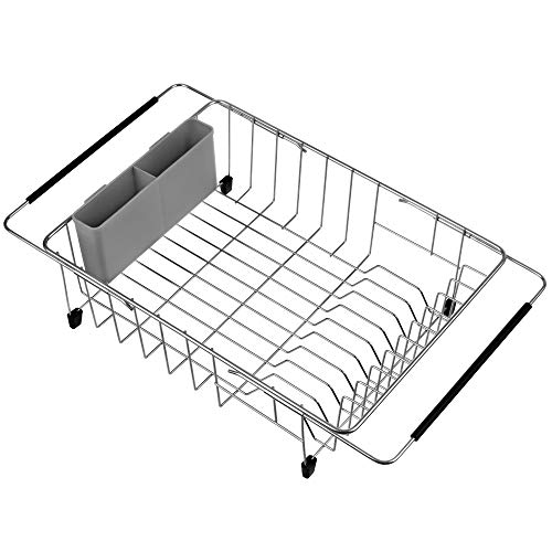 iPEGTOP Expandable Deep amp Large Dish Drying Rack Over the Sink In Sink Or On Counter Dish Drainer with Grey Removable Utensil Silverware Holder Rustproof Stainless Steel
