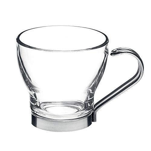 Bormioli Rocco 121880 Oslo Cappucino Tasse mit Metallhalter, 220ml, Glas, transparent, 6 Stück