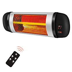RMYHOME Electric Wall-Mounted Patio Heater for Indoor or Outdoor Use, 1500W Electric Infrared Heater with Carbon Fiber Heating Tube, Dust-Proof & Waterproof, Overheat Protection System