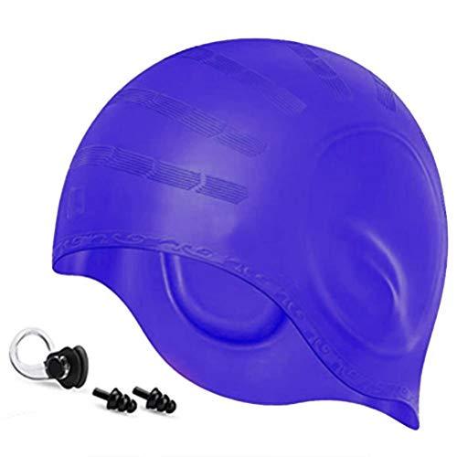 Sahoga Sahoga - Gorro de natación de silicona, impermeable, diseño ergonómico 3D para natación, accesorios de buceo
