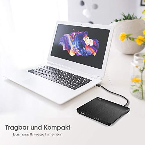 Pecosso Externe CD/DVD Laufwerk USB 3.0, Portable Slim CD/DVD-RW Brenner für alle Laptops/Desktop; PC unter Windows 7/8/10 und Mac OS für Apple MacBook, MacBook Pro, MacbookAir, iMac(Schwarz)