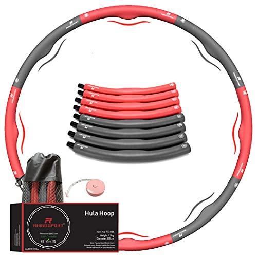 RHINOSPORT hula hoop reifen erwachsene anfänger 1,2 kg rot abnehmen kinder, hula-hoop-reifen mit massband Massage 8 Teile Segmente Abnehmbarer hula-hoop-reifen für Fitness/Training/Bauchmuskelkonturen