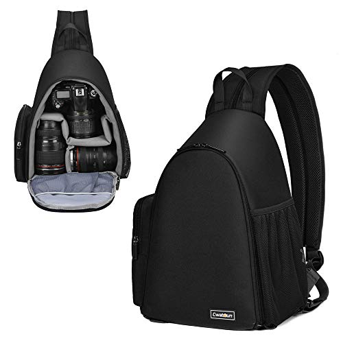 Cwatcun Camera Bag, Sling Camera Case Shoulder Backpack with Tripod Holder for Canon Nikon Sony Pentax DSLR SLR Mirrorless Cameras Black